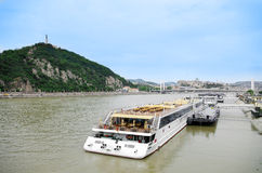Barge on the Danube river in Budapest Stock Photography