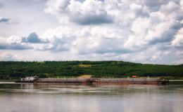 Barge on Danube river Royalty Free Stock Images