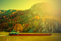 Barge on the Danube sunset Royalty Free Stock Photo