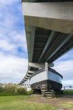 Barge Dart and Hindmarsh Island Bridge, Goolwa, South Australia Stock Photo