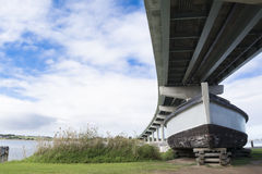 Barge Dart and Hindmarsh Island Bridge, Goolwa, South Australia Stock Image