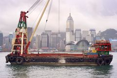 Barge dedans Hong Kong Photo libre de droits