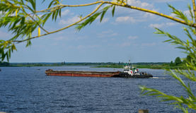 Barge on the Dnepr river Stock Photo