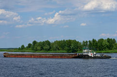 Barge on the Dnepr river Stock Photos