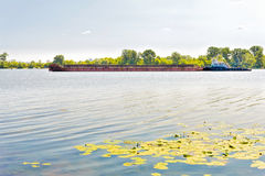 Barge on the Dnieper River Royalty Free Stock Photos