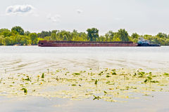 Barge on the Dnieper River Royalty Free Stock Photo