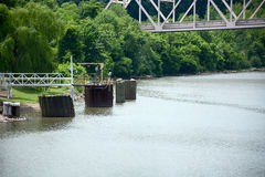 Barge dock Stock Images