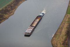 Barge on the Elbe river Royalty Free Stock Images