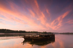 Barge at evening sky Royalty Free Stock Photo