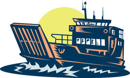 Barge or ferry boat at sea. Illustration of a Barge or ferry boat at sea done in woodcut style Royalty Free Stock Photography