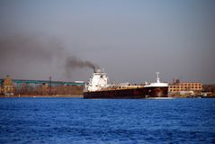 Barge on the great lakes Stock Image