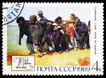 Barge-haulers on the Volga, 1870-1873, 125th Birth Anniversary of Ilya Yefimovich Repin 1844-1930 serie, circa 1969. MOSCOW, RUSSIA - MAY 25, 2019: Postage stamp royalty free stock photos