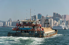 Barge in Hong Kong royalty free stock photo