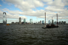 Barge on hudson river. New york city Royalty Free Stock Image