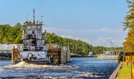 Barge on the Intercoastal Waterway - HDR Royalty Free Stock Photography