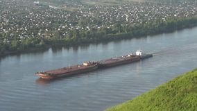 The barge on the Kama River stock footage