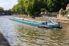 Barge on La Sambre river royalty free stock photo