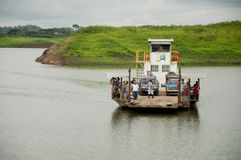 Barge in the lake of a dam in Ecuador stock photo