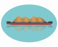 Barge. A barge loaded with sand. Vector illustration. Eps 10 Royalty Free Stock Images