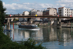 Barge on marne river Stock Photos