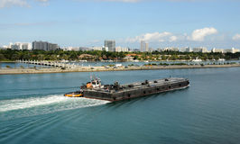 Barge on the Miami waterways Royalty Free Stock Photography