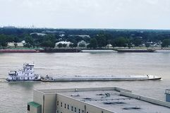 Barge on Mississippi royalty free stock photos