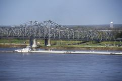 A barge in the Mississippi River in Vicksburg, Mississippi stock photography