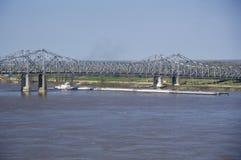A barge in the Mississippi River in Vicksburg, Mississippi stock images