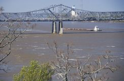A barge in the Mississippi River in Vicksburg, Mississippi stock photo