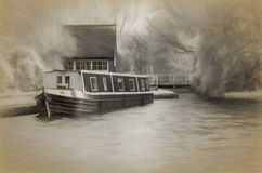 Barge Moored at Canal Junction. Illustration of a barge moored at a junction on a canal Stock Image