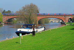Barge moored on the River Thames Royalty Free Stock Photos
