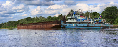 Barge on the Moscow Canal. Russia Stock Photography