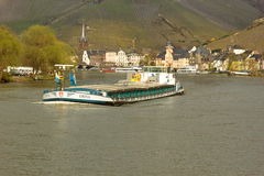 Barge on the Mosel in  Bernkastel-Kues in Germany Royalty Free Stock Photography