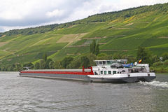 Barge on the Mosel river Royalty Free Stock Images