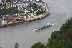 Barge on the Mosel river Stock Image