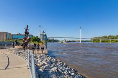 A barge moving northwards on River Missouri at Omaha stock photo