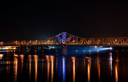 Night Traffic. A barge navigats the Ohio River in Louisville, Kentucky Stock Image