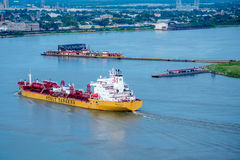 Barge nearing the shore in New Orleans Royalty Free Stock Photography