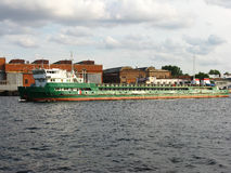 Barge on the Neva river. St. Petersburg. Water freight transport Royalty Free Stock Images