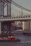 Barge on New Yorks East River USA Stock Photo