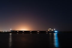 Barge at night Royalty Free Stock Photography