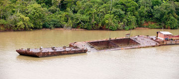 Barge in Panama Canal Royalty Free Stock Image