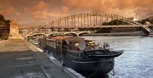 Barge on paris wharf Stock Photos
