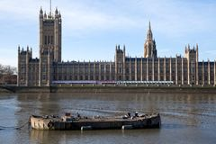 Barge and Parliament Royalty Free Stock Image