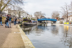 Barge and people at canal Royalty Free Stock Photography