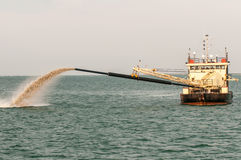 Barge Pipe pushing sand onto the  beach Stock Photography