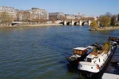 Barge and Pont Neuf bridge Royalty Free Stock Image