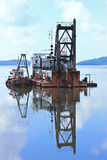 Barge. Reflection of the transport ship dock Stock Photography