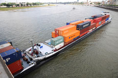 Barge at Rhin. Aerial of barge on rhine River in Duesseldorf , Germany Royalty Free Stock Photography