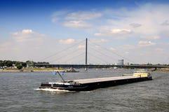 Barge at Rhin. Cargo Boat on the River Rhine, Dusseldorf, North Rhine Westphalia, Germany Stock Image
